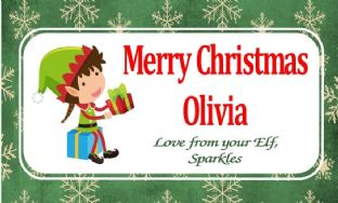 Personalised Christmas Chocolate Bar Wrapper  Girl Elf
